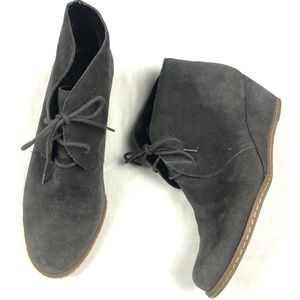Franco sarto acquire gray suede wedge lace up booties 9
